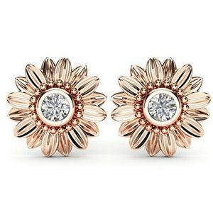 Rose Gold Sunflower Stud Earrings